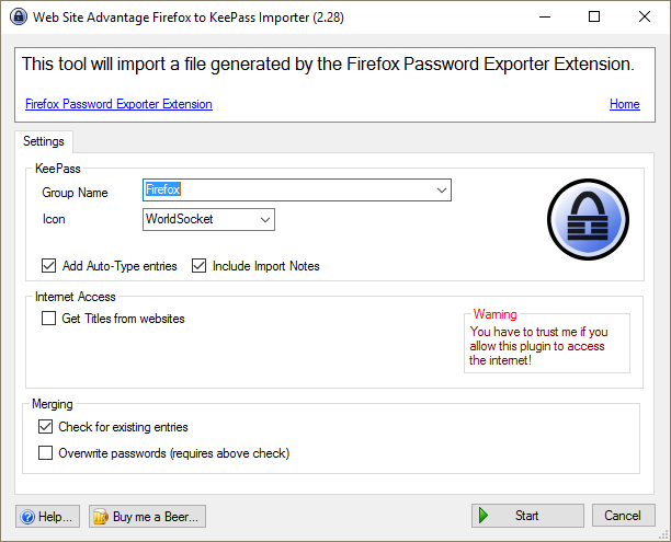 Using KeePass with Firefox (or Chrome)