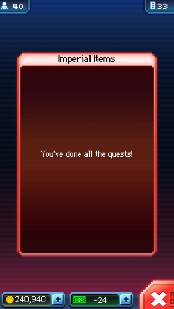 Done all the quests?! So half of my levels are obsolete before their first use. Great.
