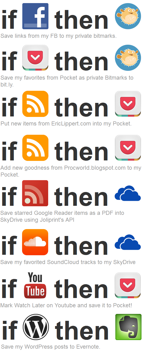 Some of my IFTTT recipes