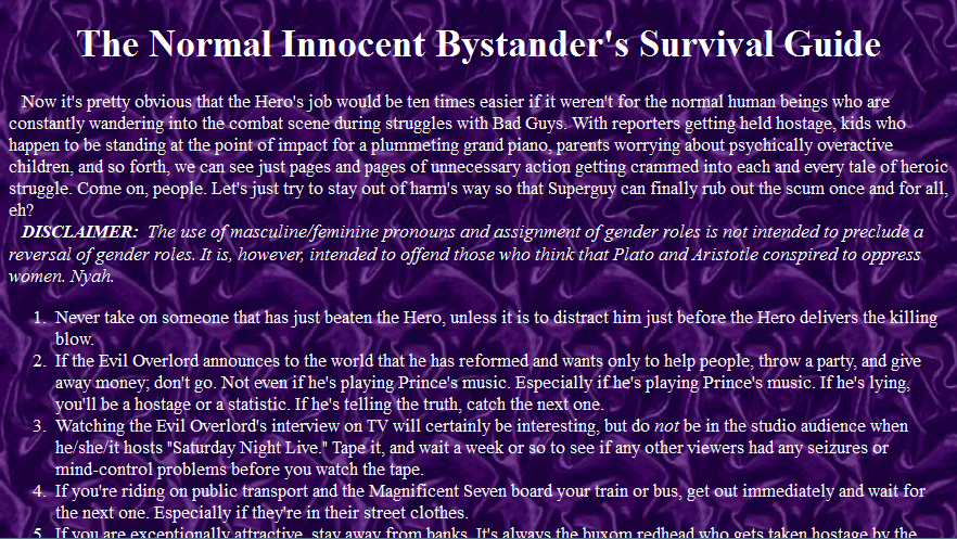 Innocent Bystander's Survival Guide