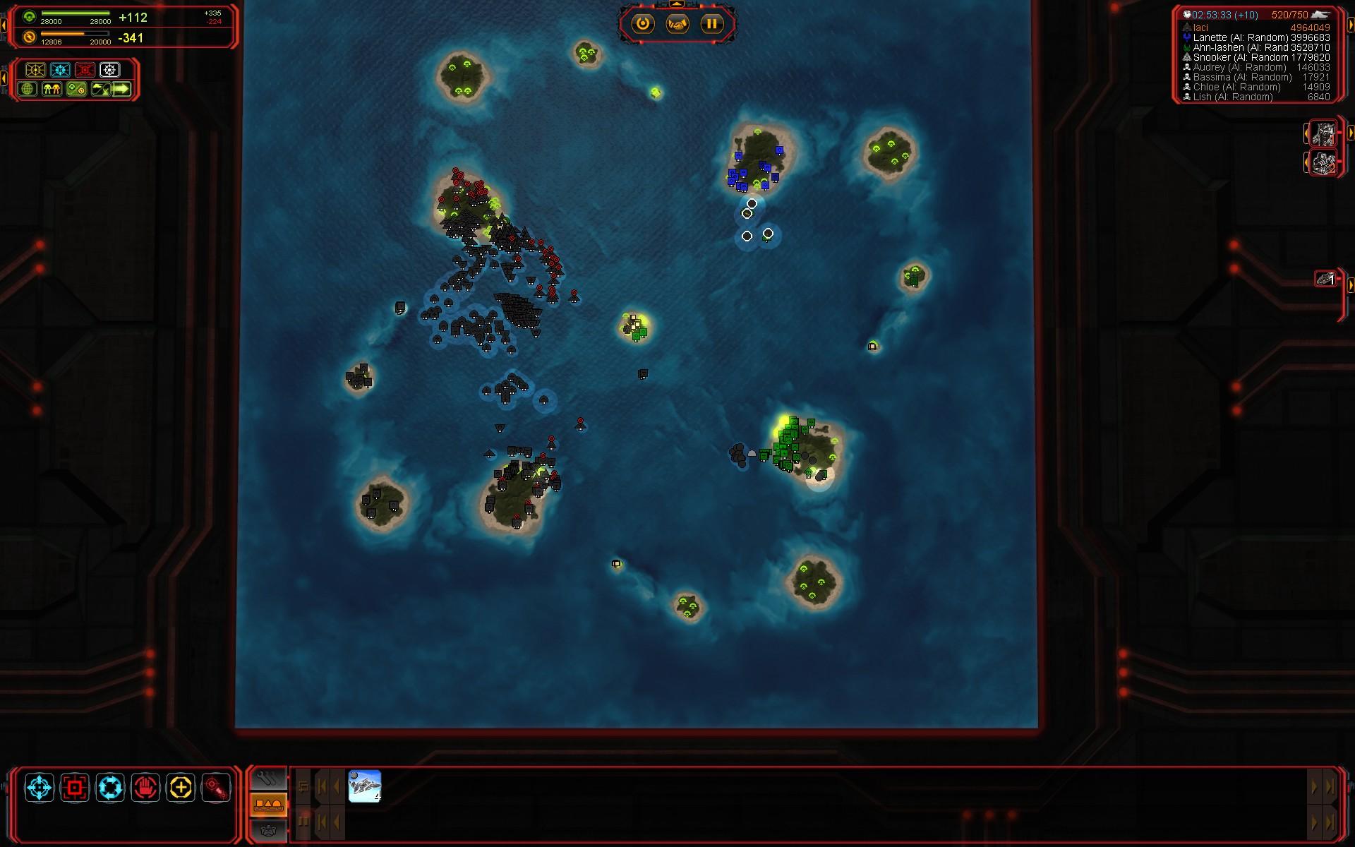 Mapa počas útoku.